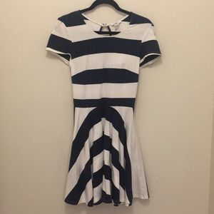 Bar III navy blue and white stripped dress